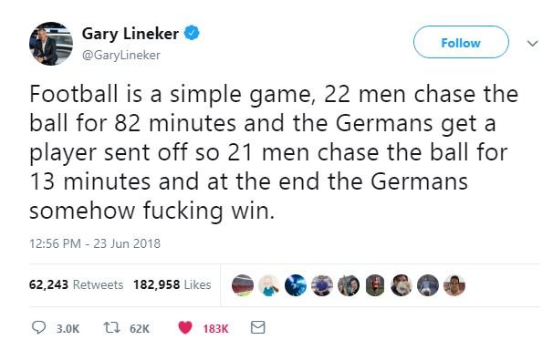 ლინეკერმა გერმანია-შვედეთის მატჩის შემდეგ თავისი უკვდავი ფრაზა დააკორექტირა