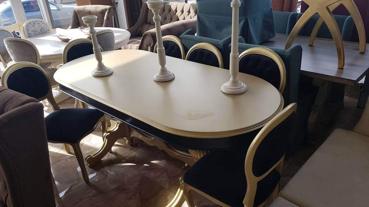 მაგიდა 8 სკამით მასიური ხე რუმინეთიდან 2200ლარი